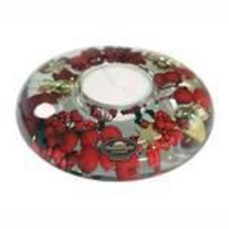 Xmas Berries, glass tea light candle,