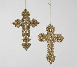 Glittered  Gold Cross -  Price per each -two  assorted