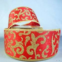 Red/ Gold Velvet Ribbon