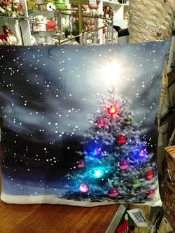 Cushion with Light Up Tree