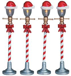 "4"" Santa Hat Street Lamp.  Set Of 4."