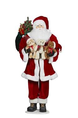 Traditional Santa Holding Teddys
