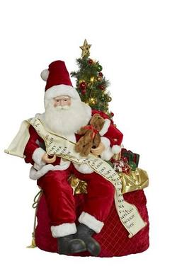 Santa Sitting on Sack with List