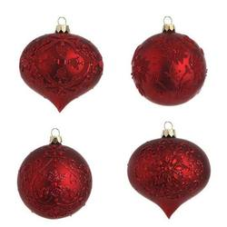 Red Glass Bauble, 4 assorted, $19 per each bauble