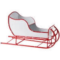 Sleigh, Metal Red & White