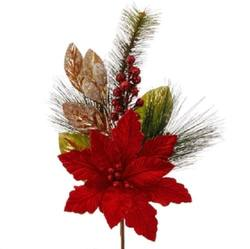 Red Gold Poinsettia Stick