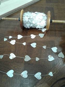 Heart Garland on Wooden Spool