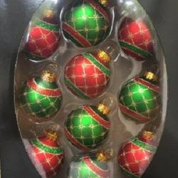 Glass Baubles Red & Green