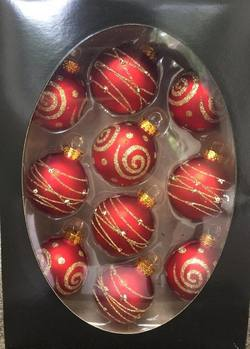 Glass Baubles Red