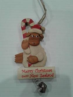 Sheep wooden holding candy cane
